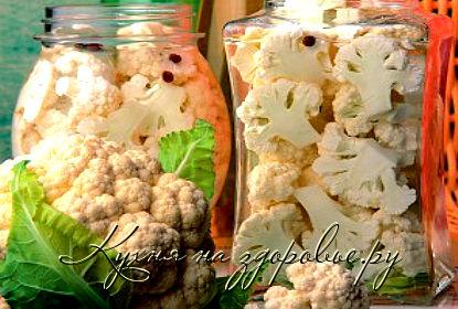 Фото: консервированная в домашних условиях цветная капуста.