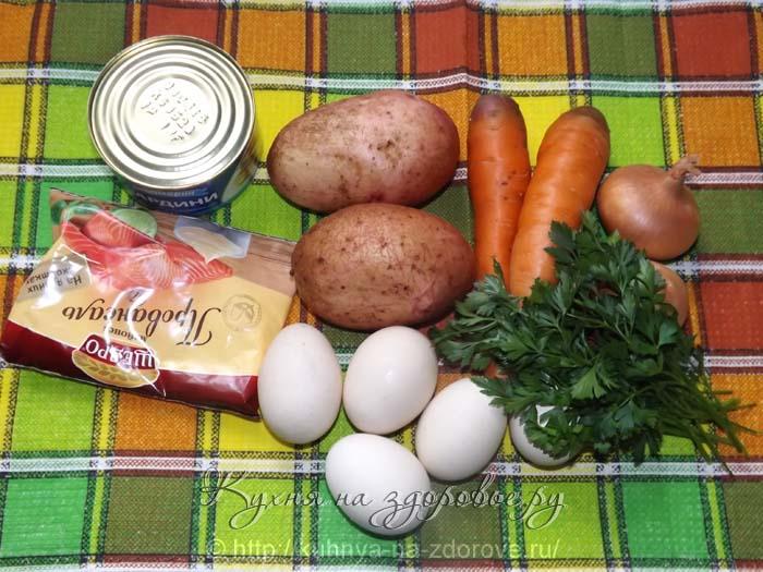 Необходимые ингредиенты для салата мимоза
