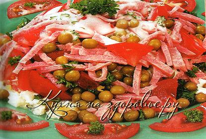 салат рецепт с ветчиной с помидорами и