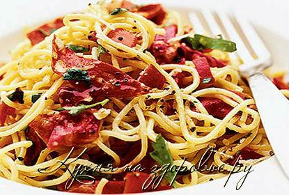 рецепт спагетти карбонара с колбасой сырокопченой
