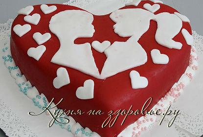 Торт сердце из мастики