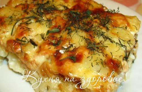 Запеканка из макарон с сыром.