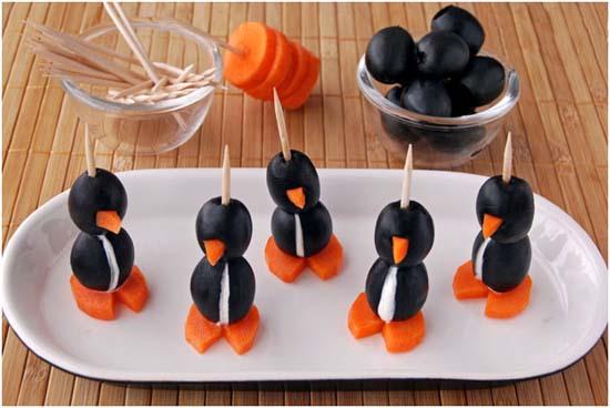 Канапе для детей с фото: пингвины, фаршированные сыром