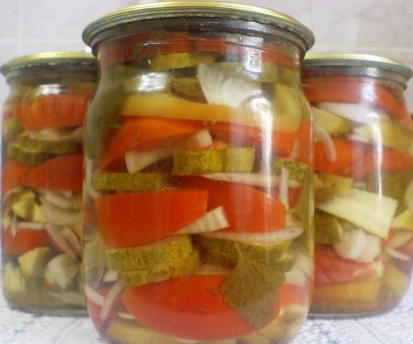 Салат на зиму перец помидоры лук огурцы