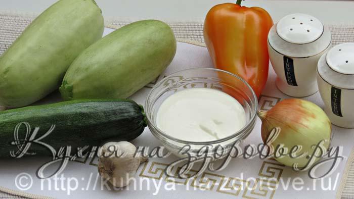 Ингредиенты для приготовления тушеных кабачков