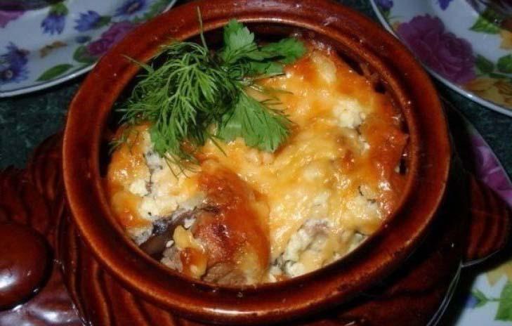 Мясо в горшочках с грибами фото